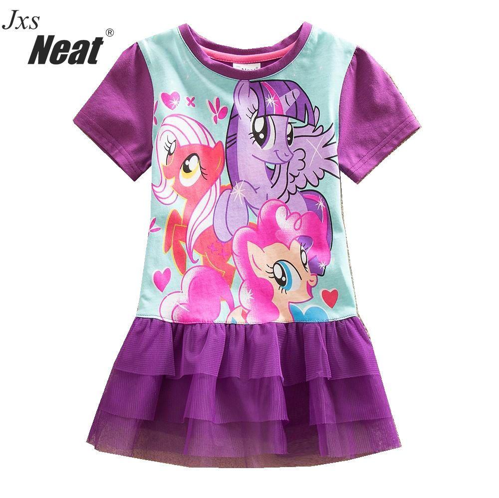PROPRE Bébé fille D'été de mode mignon courtes manches robe dentelle tulle tutu robe pop modèle de dessin animé décoration Princesse robe LU3