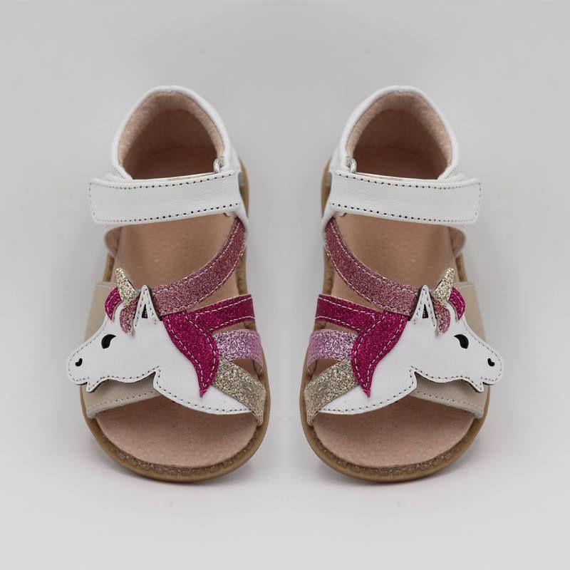 TipsieToes Top marque licornes en cuir souple en été nouvelles filles enfants pieds nus chaussures enfants sandales