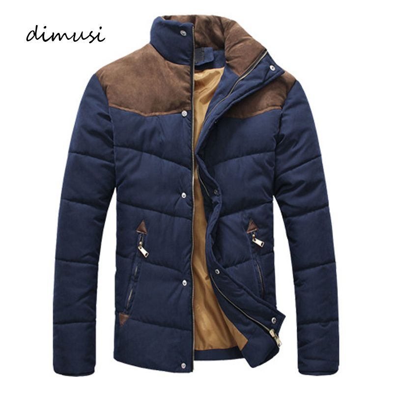 DIMUSI Clothing Winter Jacket Men Warm Causal Parkas Cotton Banded Collar Winter Jacket Male Padded Overcoat Outerwear 4XL,YA332