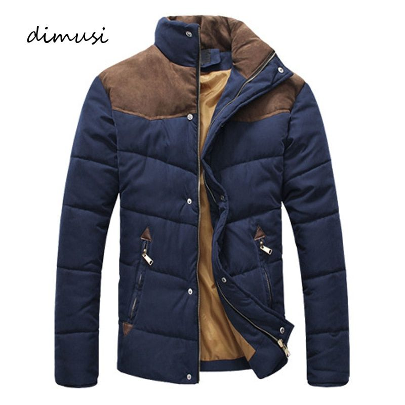 DIMUSI Clothing Winter Jacket Men Warm Causal Parkas Cotton Banded Collar Winter Jacket Male <font><b>Padded</b></font> Overcoat Outerwear 4XL,YA332