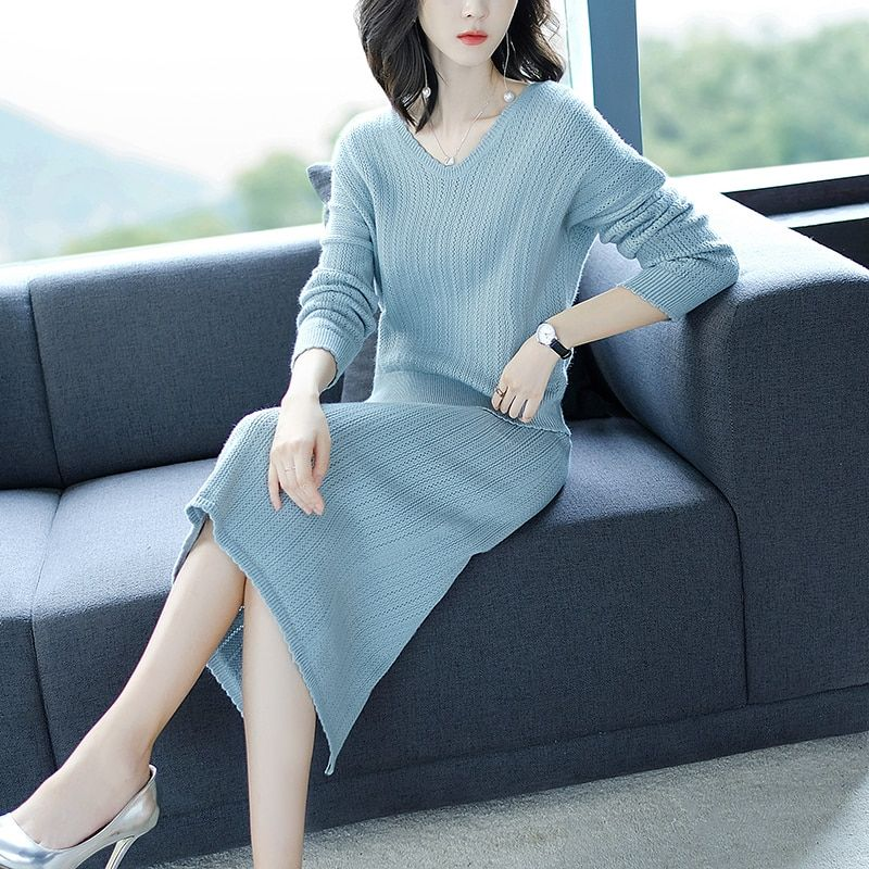2018 Autumn And Winter New Hotel Style Women's Suit Korean Fashion Knit Half-length Skirt Two-piece Suit