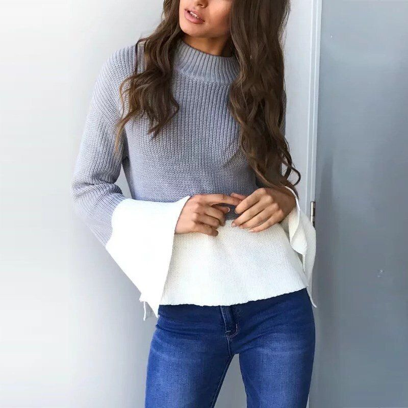 New Arrival Patchwork Sweater 2017 Autumn Spring Pullover Loose Casual Long Sleeve Flared Sleeve Knitted Irregular Hem Jumpers