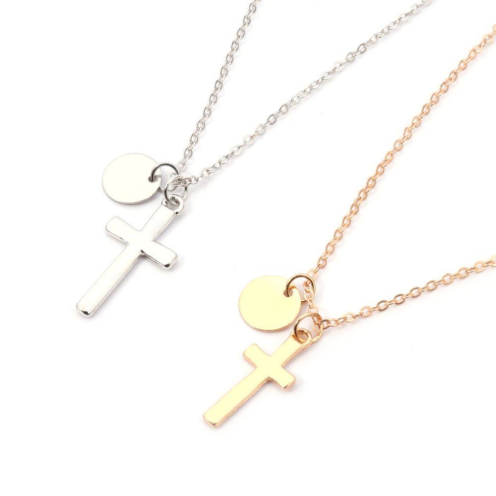 Мода простой крест круглый кулон сплава цепи Цепочки и ожерелья Для женщин украшения подарок
