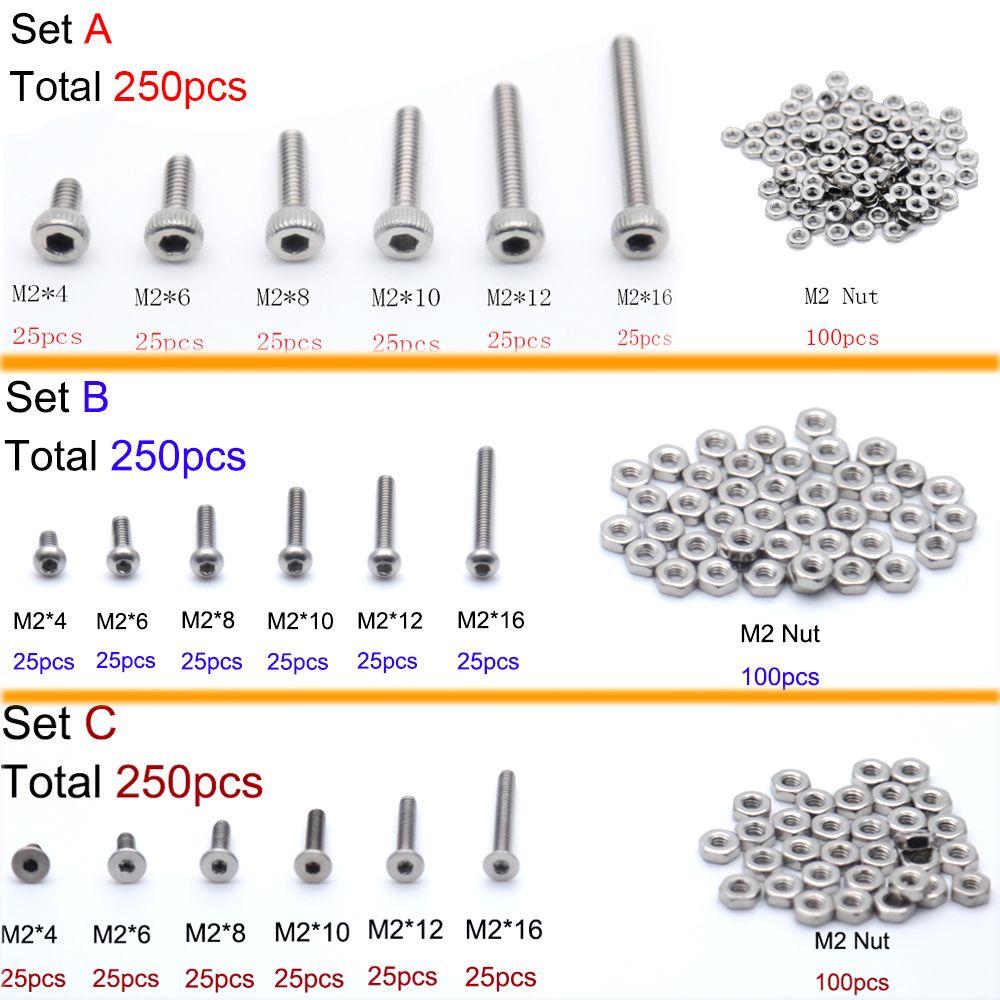 250 pièce/ensemble A2 acier inoxydable M2 bouchon/bouton/vis à tête plate définit boulon à six pans creux avec écrous hexagonaux Kit d'assortiment