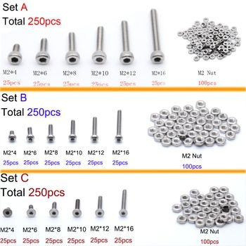 250pc/set A2 Stainless Steel M2 Cap/Button/Flat Head Screws Sets Hex Socket Bolt With Hex Nuts Assortment Kit
