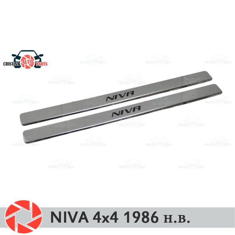 Einstiegsleisten für Lada Niva 4x4 1986-2018 schritt platte inneren trim schutz scuff auto styling dekoration lange schwarz buchstaben version