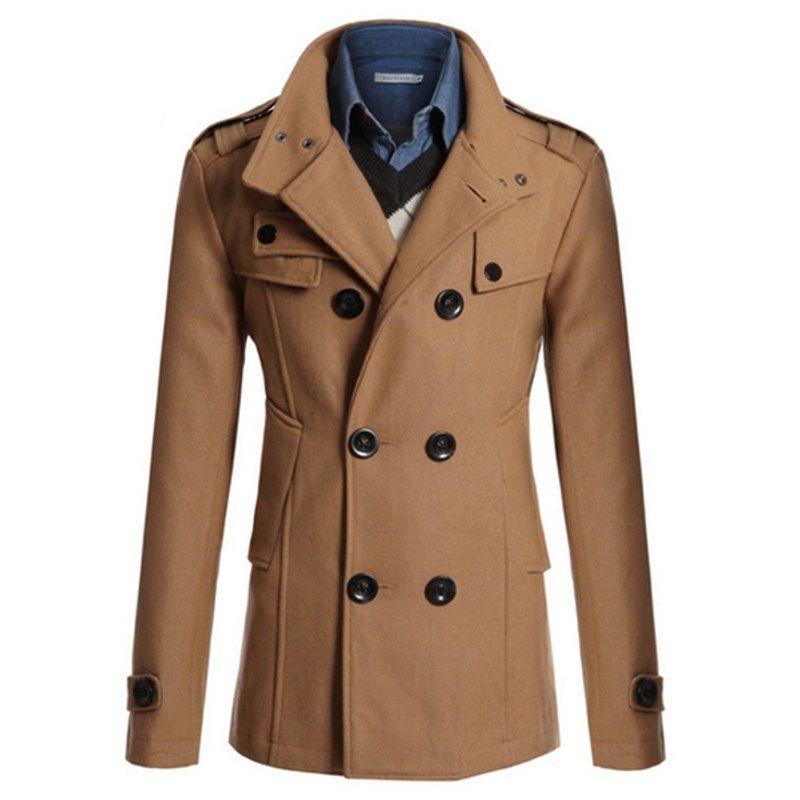 Men's Trench Jacket Business Formal Smart Woolen Jackets Casual Office Slim Male Overcoat 2017 Winter Men Windbreaker Suits Coat