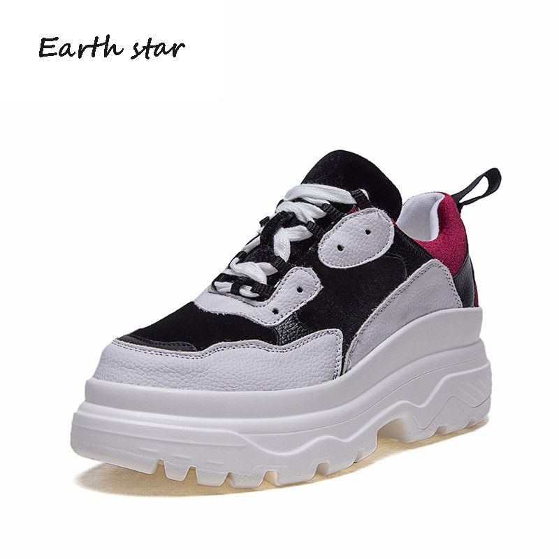 EARTH STAR 2018 Autumn Girl White Shoes Women Fashion Brand Platform Sneaker Lady Winter footware Female Breathable chaussure