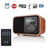FM Radio Wooden Digital Multi Functional Speaker Bluetooth Alarm MP3 Player Micro SD/TF Card USB Remote Controller