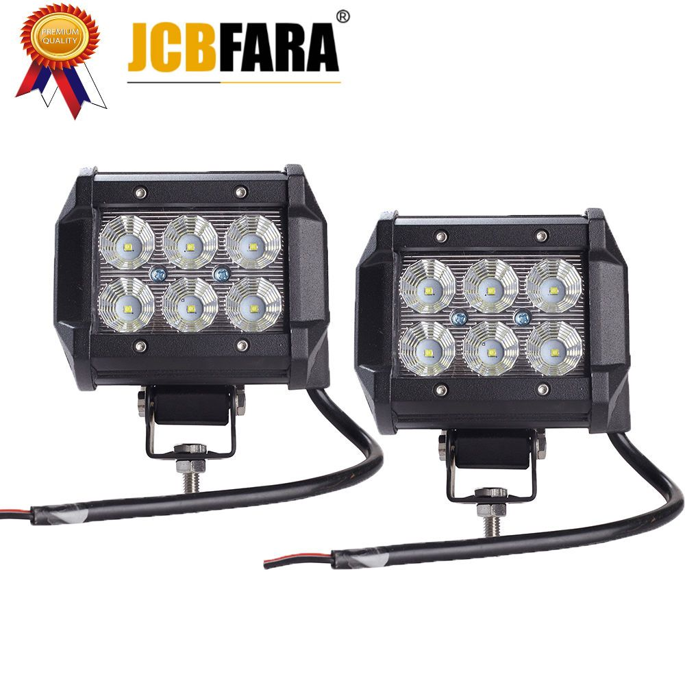 2pcs Car Led Light Bar 18W Work Light Lamp Cree Chip LED 4 Motorcycle Tractor Boat Off Road 4WD 4x4 Truck SUV ATV 12V 24V