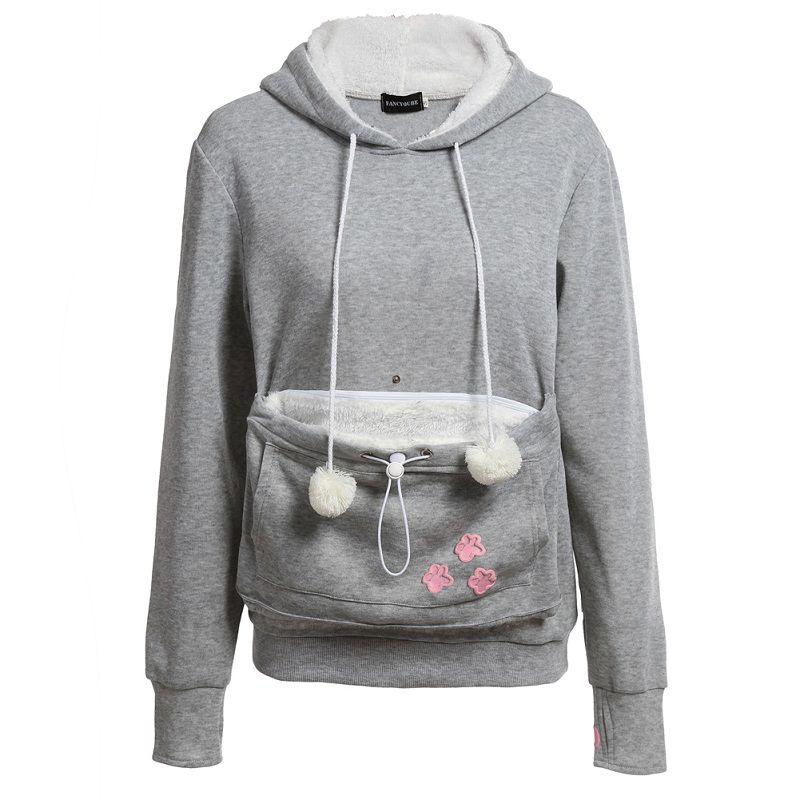 Casual Animal Ear Hoodie Cartoon Hooded Hoodies Lover Cats Kangaroo Dog Hoodie Cool Long Sleeve Sweatshirt Front Pocket