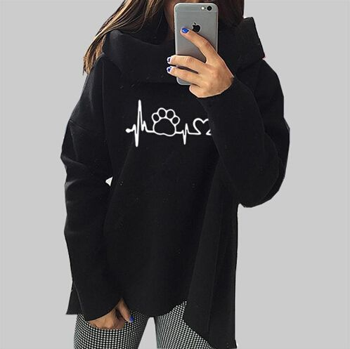 Dog Cat Cartoon Sweatshirts 2018 Women Harajuku Spring Anime Hoodies Scarf Collar Long Sleeve Fashion Pullovers real pic