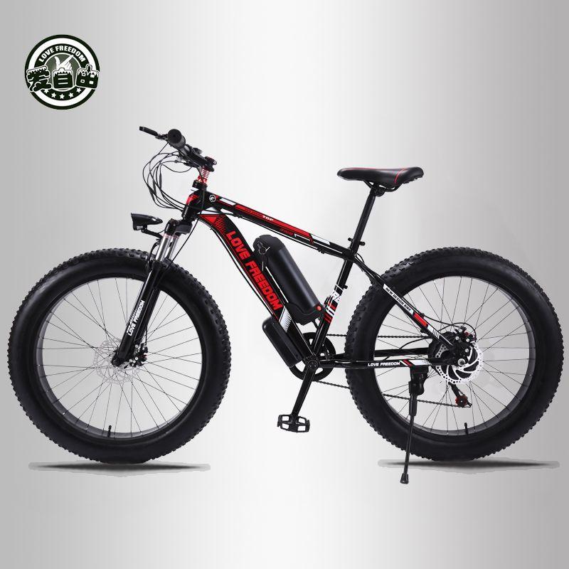 Liebe Freiheit 24 geschwindigkeit Mountainbike Elektro Fahrrad 36V 350W 10.4Ah 26X4,0 Elektrische Fahrzeug 48 Zahlen 500 Watt Motor