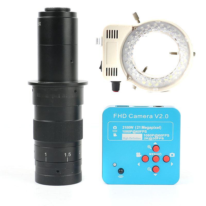 Neueste 21MP 2 karat HDMI UBS Industrie Video Mikroskop Kamera + 130X/180X/300X Monokulare Objektiv 56 LED licht Für PCM SMD Löten