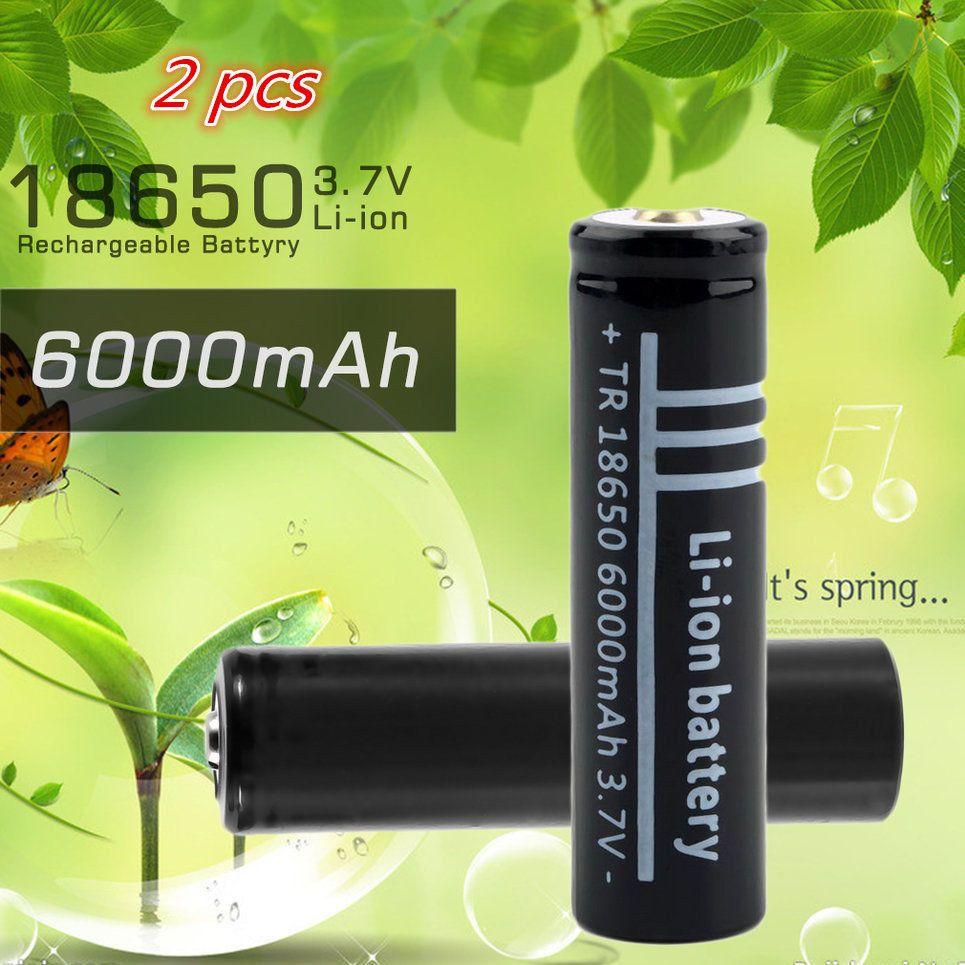 GTF 2 STÜCKE 18650 Neue Batterie 3,7 V 6000 mAh 18650 Li-Ion Akku für Taschenlampe DP