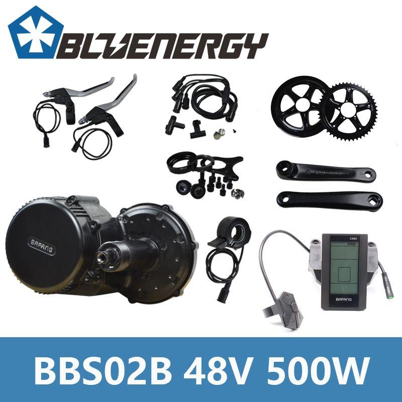 48V 500W Bafang 8Fun BBS02B Mid Crank Drive Motor Kits Electric Bike Conversion Kit With C961/C965/850C Display