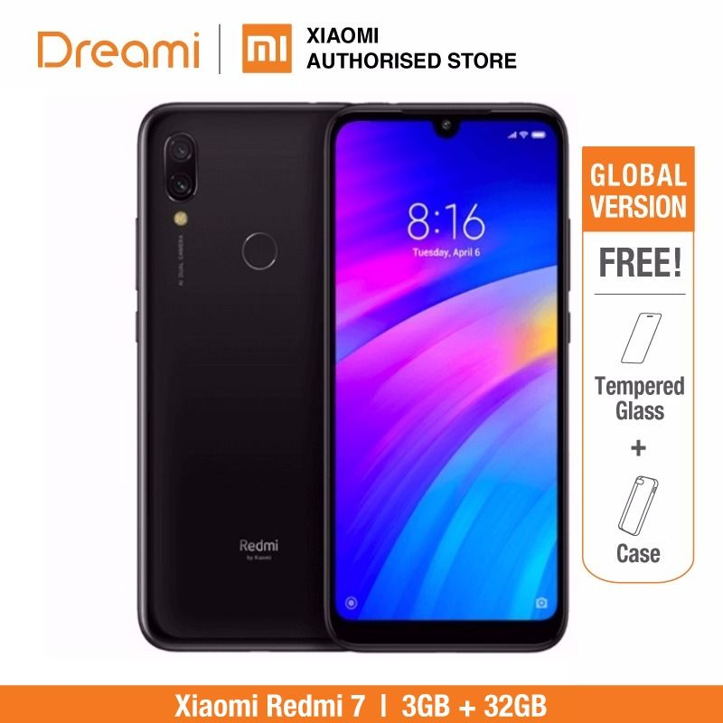 Version globale Xiaomi Redmi 7 32 GB ROM 3 GB RAM (boîtier neuf et scellé) prêt à l'emploi
