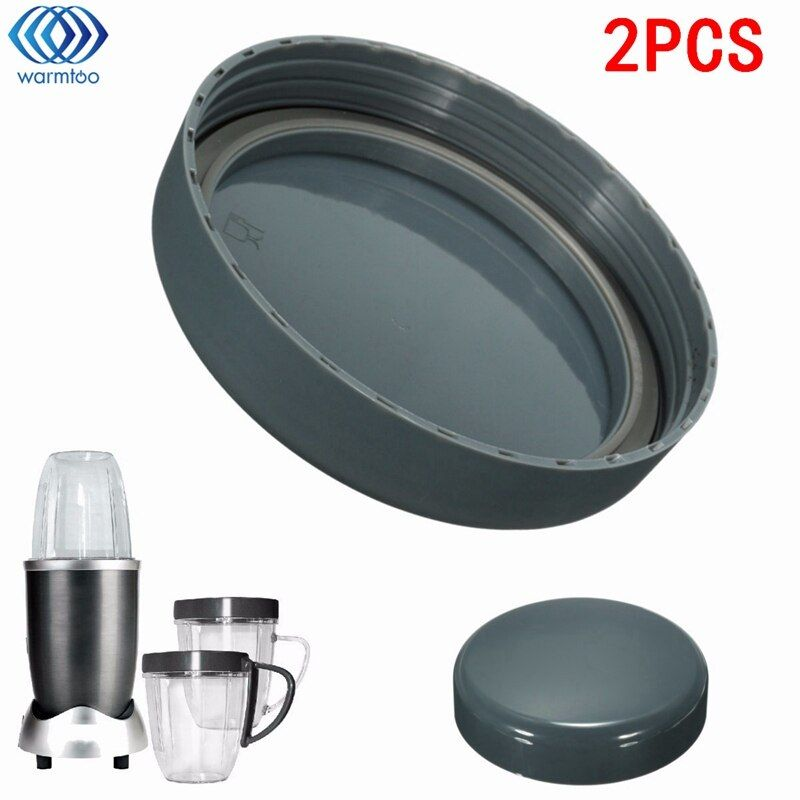 2Pcs Juicer Replacement Cup Lid Stay Fresh Resealable Cap Spare Parts Gaskets For Nutribullet 900W With Rubber Plastic Gray
