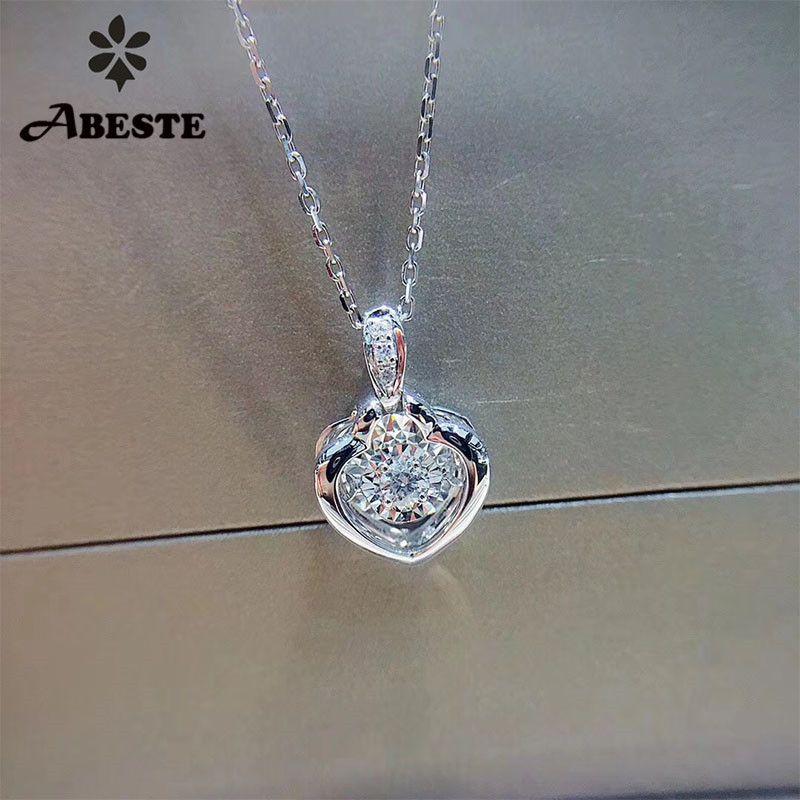 ANI 18K Solid White Gold Pendant Necklace SI 0.068 ct Real Natural Diamond Fine Jewelry Women Engagement Necklace Birthday Gift