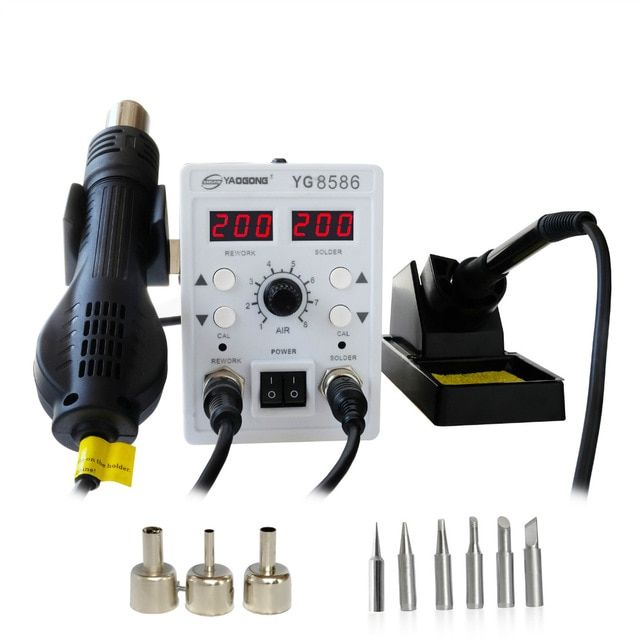 YAOGONG 8586 Rework Station 2 In 1 Double Digital smd Rework Soldering Station Iron Hot Air Mobile Phone Repair Tools