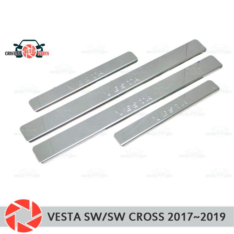 Einstiegsleisten für Lada Vesta SW/SW Kreuz 2017 ~ 2019 schritt platte inneren trim zubehör schutz auto styling dekoration stempel