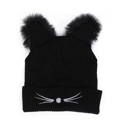 Девушка Для женщин модные панк дьявол Кот уха хип-хоп зима теплая Шапка-бини Кепки подарок