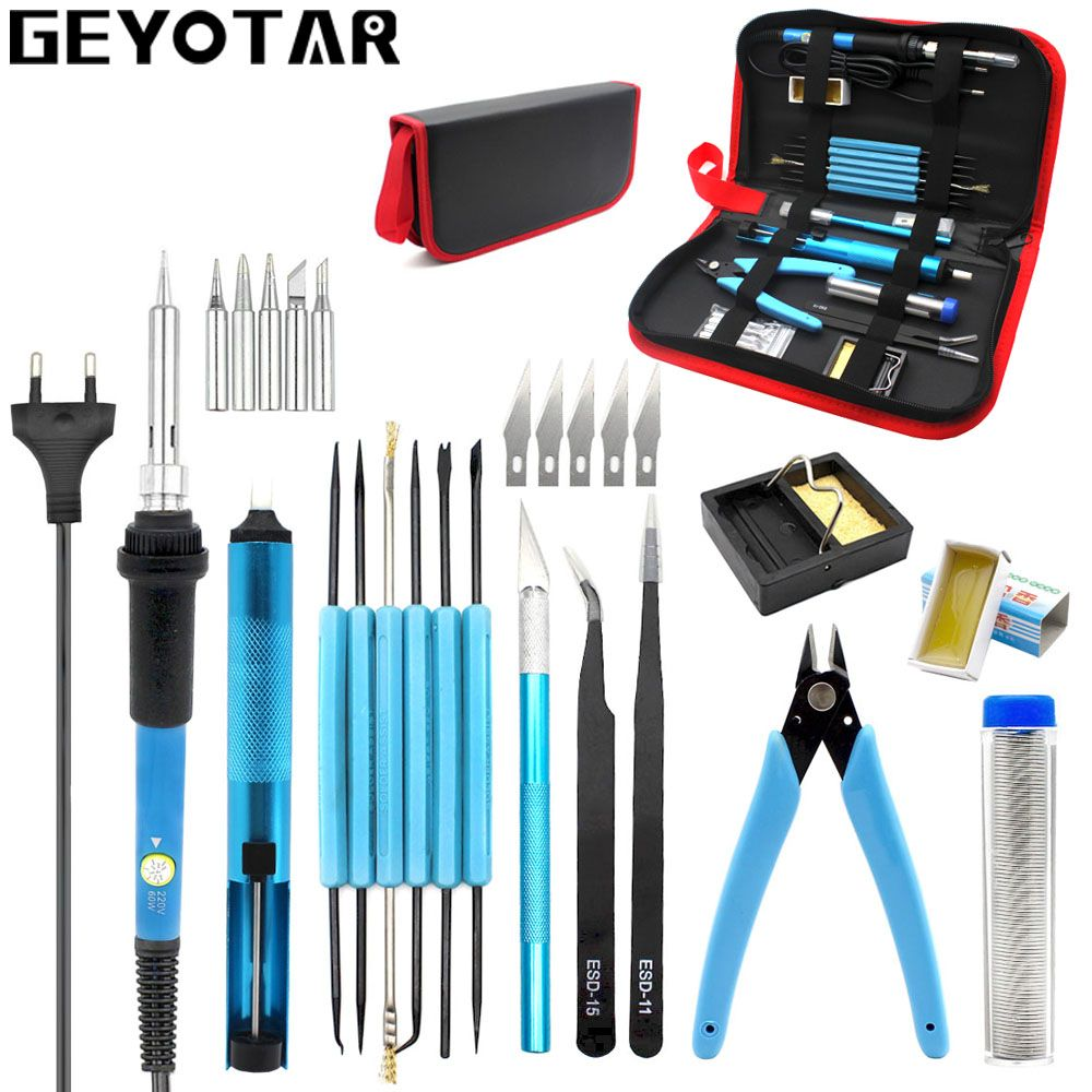 220v 60w Eu Plug Adjustable Temperature Electric Soldering Iron kit Desoldering Pump Tin Wire Pliers Welding Tools Storage Bag