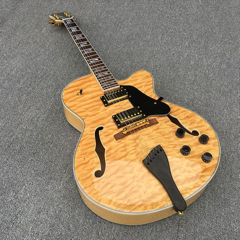 Jazz Semi Hollow Body E-gitarre, Starke Archtop Gitarre, weiße Perle, Gold-hardware, Transparent schlagbrett, Flamme Ahorn