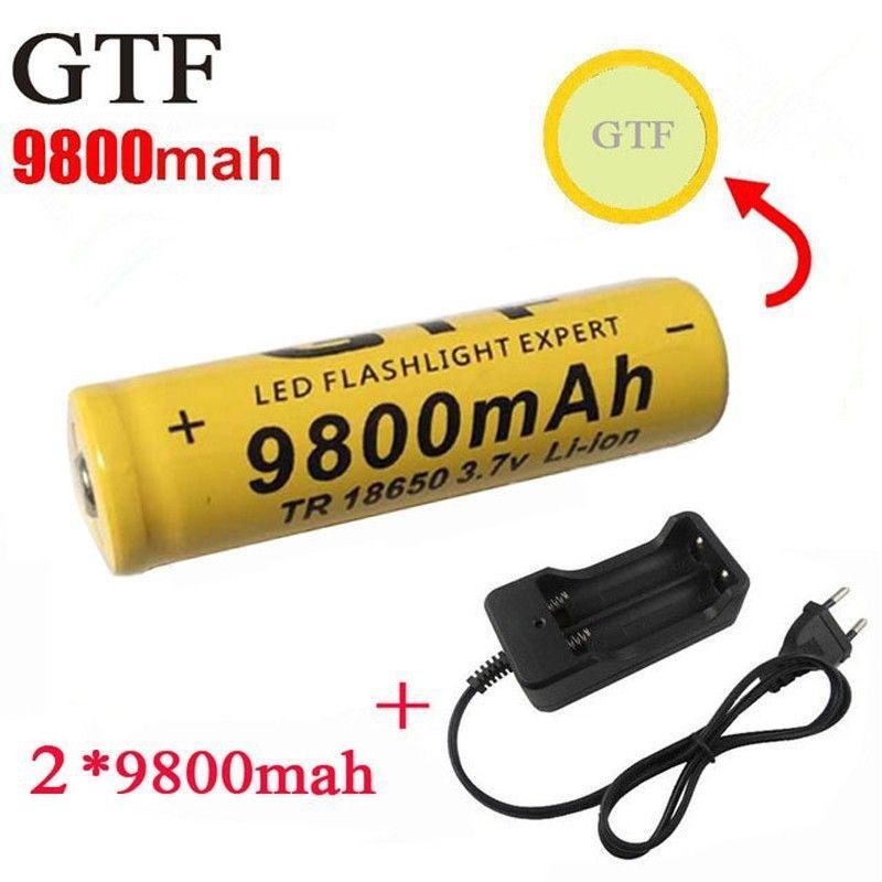 GTF 2 stücke 18650 9800 mAh 3,7 V Li-Ion Wiederaufladbare Batterien Für Taschenlampe + EU Li-Ion Ladegerät
