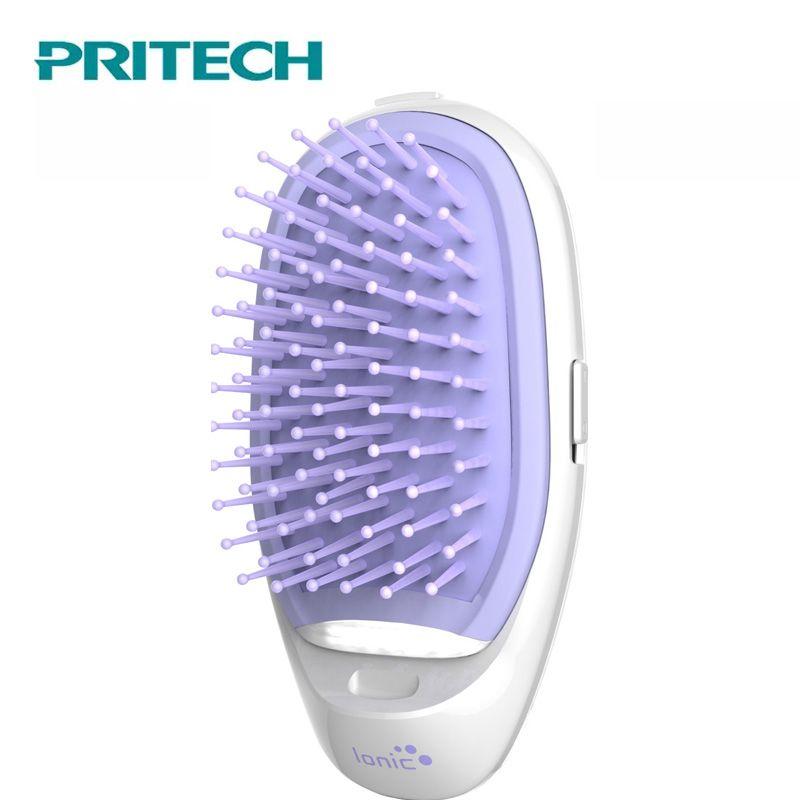 Pritech Mini peigne à cheveux Massage électrique brosse à cheveux Potable peigne ionique pour cheveux sortir Anti-statique filles brosse à cheveux