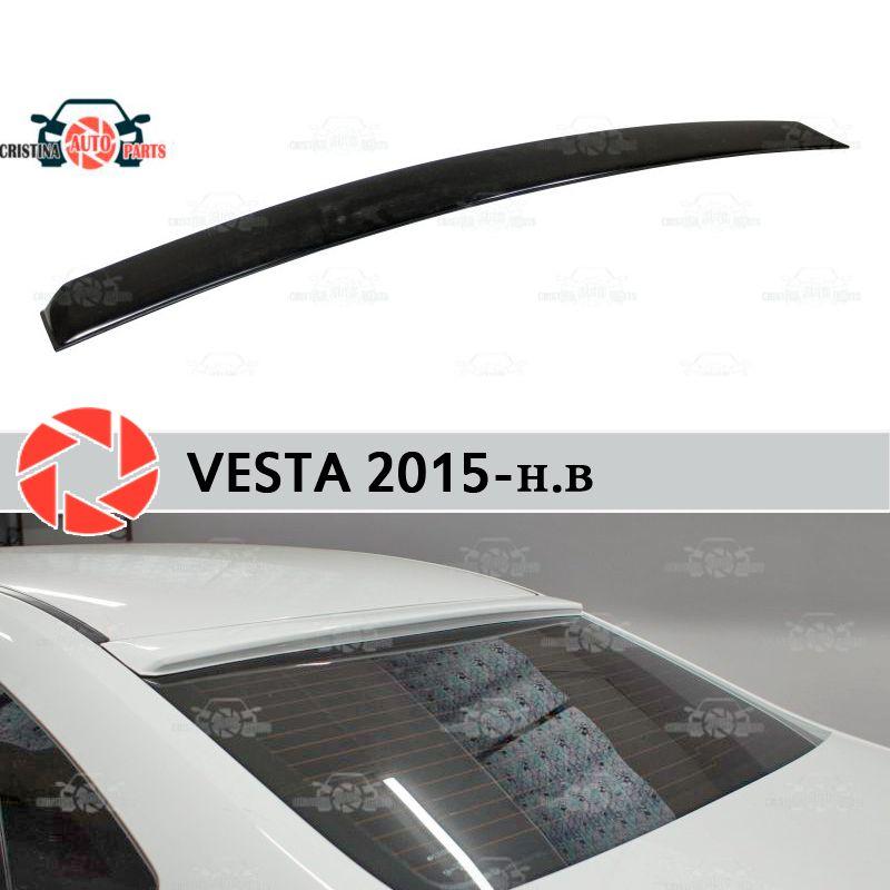 Für Lada Vesta 2015-spoiler auf hinten fenster baldachin platte lip spoiler kunststoff ABS schutz sill zubehör schutz auto styling