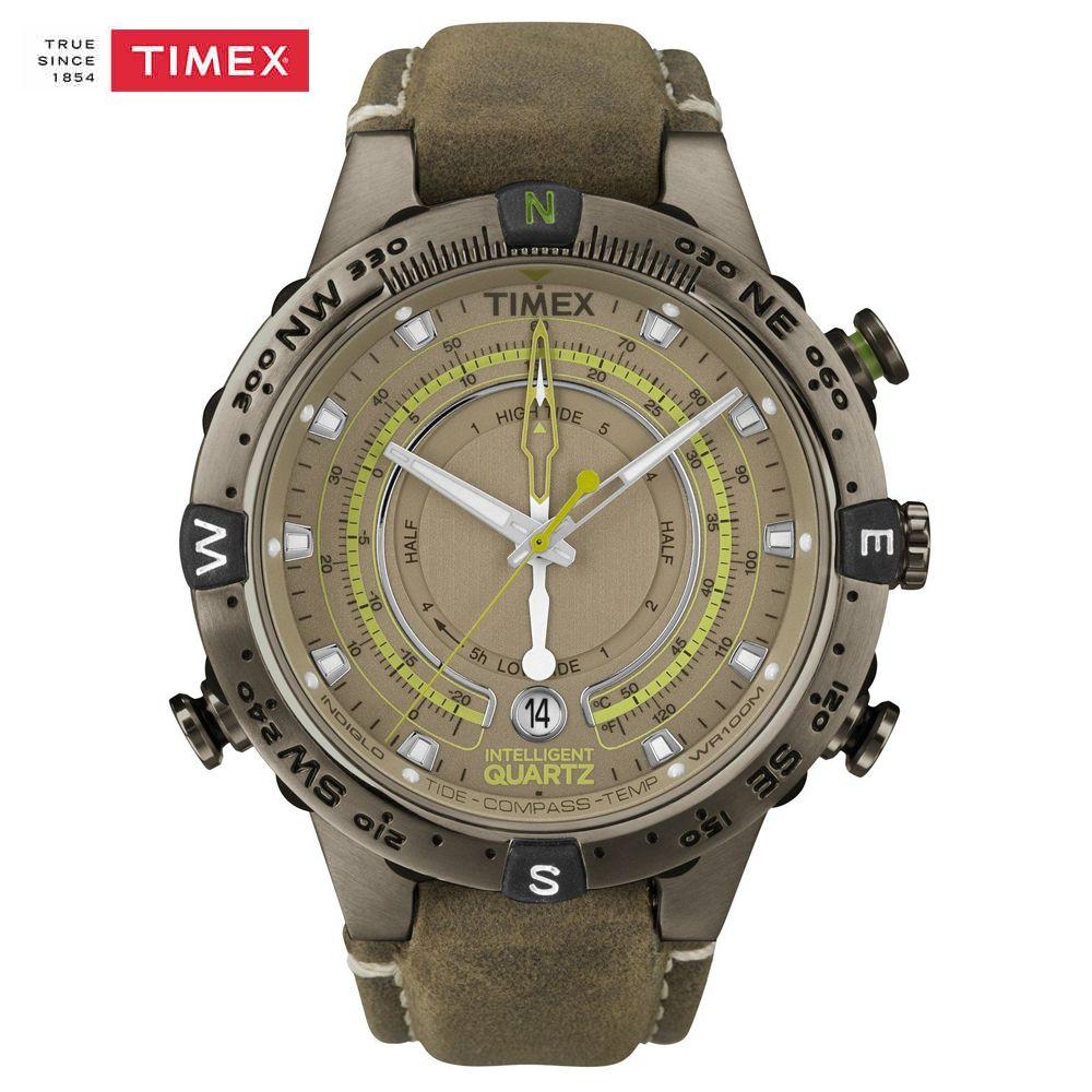 Los Hombres Originales del Reloj Timex T2N739 Exporation Inteligente Reloj de Cuarzo Correa de Cuero Marea Temperatura Brújula Al Aire Libre Reloj