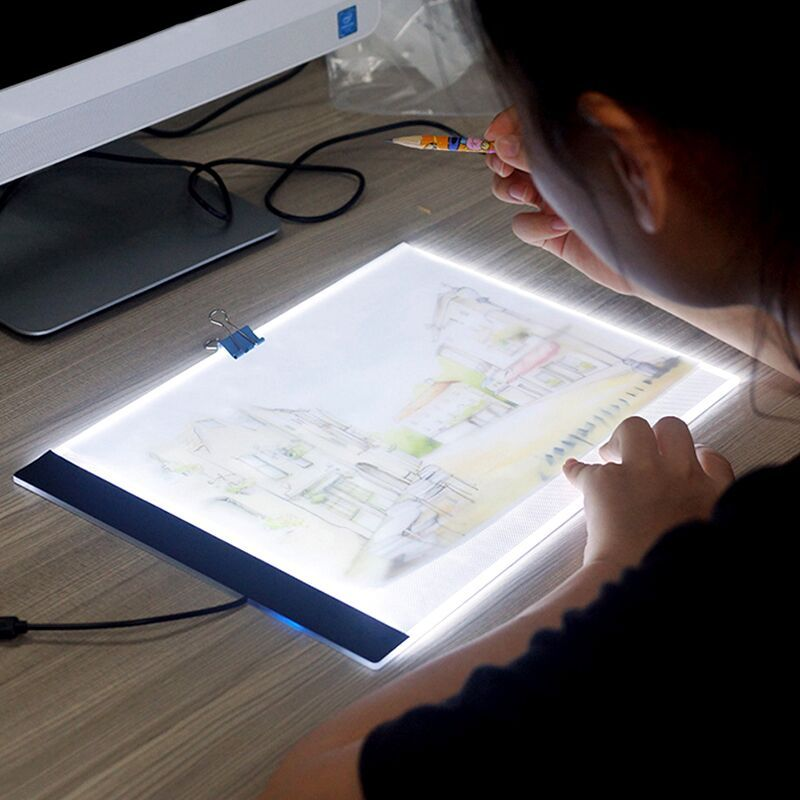 5D DIY Diamond Embroidery A4 LED Light Stencil Touch Pad Copy,Apply to EU/UK/AU/US/USB Plug, Diamond Mosaic Decoration A4