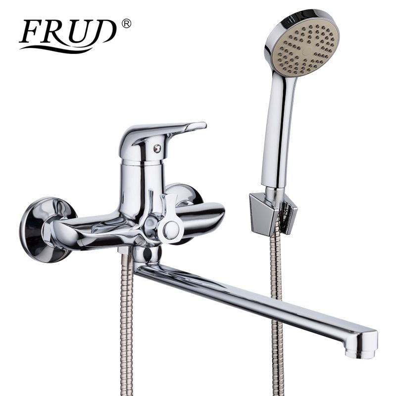 FRUD 1set 35cm Zinc Alloy Outlet Pipe Bathtub Shower Faucet Surface Chrome with Shower Head <font><b>Bathroom</b></font> Cold and Hot Tap R22102