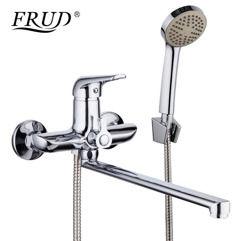 FRUD 1set 35cm Zinc Alloy Outlet Pipe Bathtub <font><b>Shower</b></font> Faucet Surface Chrome with <font><b>Shower</b></font> Head Bathroom Cold and Hot Tap R22102