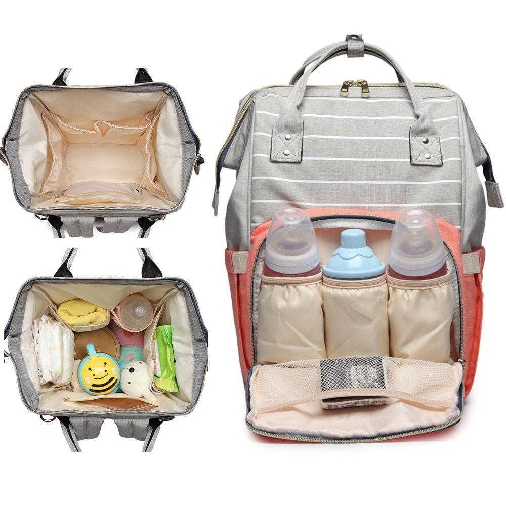 New Lequeen Nursing Care Baby Bag Stripe Diaper Bag Designer Travel Nappy Bag Organizer Waterproof Maternity Patchwork Bag