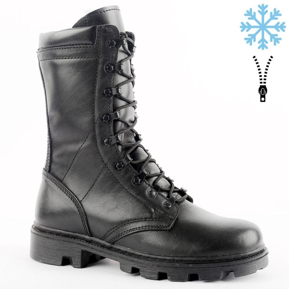 Echtes leder lace-up schwarz armee ankle stiefel mit pelz männer hohe schuhe flache military stiefel 5013/1 ZA