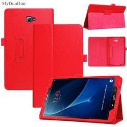 Caja de La tableta de Samsung Galaxy Tab Un A6 10.1 2016 T585 T580 SM-T580 T580N Casos PU de Cuero Delgado Litchi Estilo Plegable Funda + Film