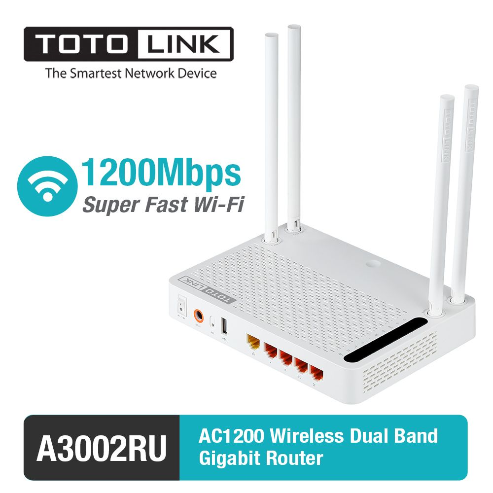 TOTOLINK A3002RU11AC 1200Mbps Gigabit WiFi Router with Wireless repeater, AP in One, and <font><b>four</b></font> pcs of 5dBi Antennas