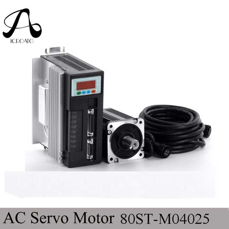 Servo System Kit 80ST-M04025 1000 watt AC Servo Motor + 4N. M 2500 rpm 1KW Motor + Single-Phase Spiel Fahrer AASD-20A + 3 mt Kabel