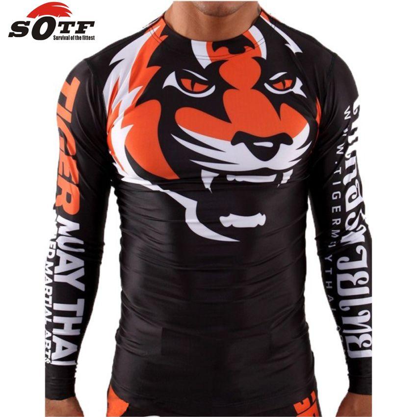 SOTF serré élastique vêtements de musculation tigre Muay Thai MMA Muay Thai chemise de boxe manches longues