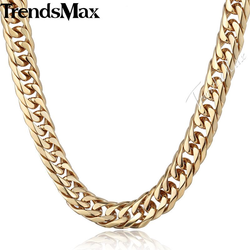 Trendsmax Men's Necklace 316L Stainless Steel Chain for Men Gold Tone Curb Cuban Link HN58