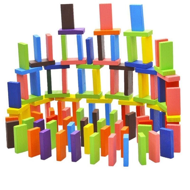100Pcs 10Color Set Wooden Bright Tumbling Dominoes For Kids Game Toy Fun