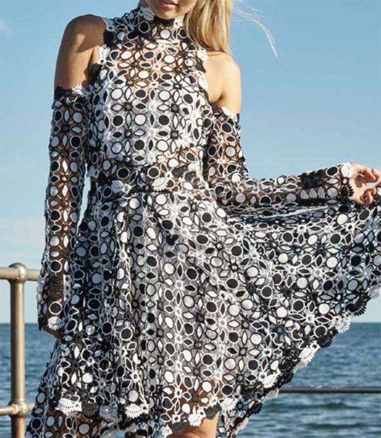 Designer Frauen Kleid 2018 Schwarz Weiß Patchwork Mit Langen Ärmeln Stehen Mini Frauen Kleid Weg Von Der Schulter Aushöhlen Spitze Kleider