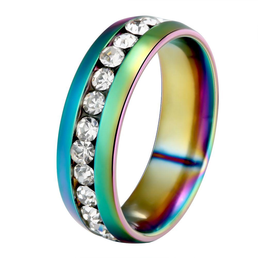 Унисекс Прохладный из нержавеющей стали горный хрусталь Embedded Радужный Блеск палец кольцо подарок