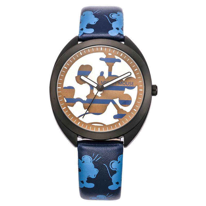 Marca de relojes de los niños de dibujos animados de Disney Mickey mouse estudiantes muchachos de cuero de cuarzo relojes luminosos impermeable reloj de pulsera caja de regalo