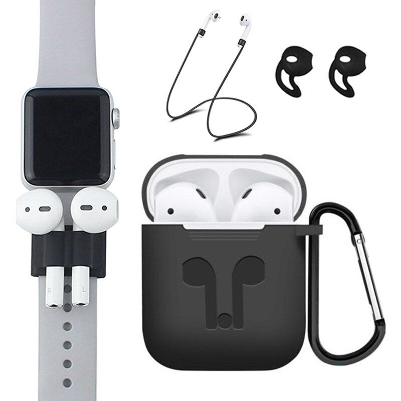 Pack of 5 Accessories Silicone Case Cover Earphones Pouch Anti Lost Strap Holder Eartips Carabiner Buckle for Apple AirPods Case