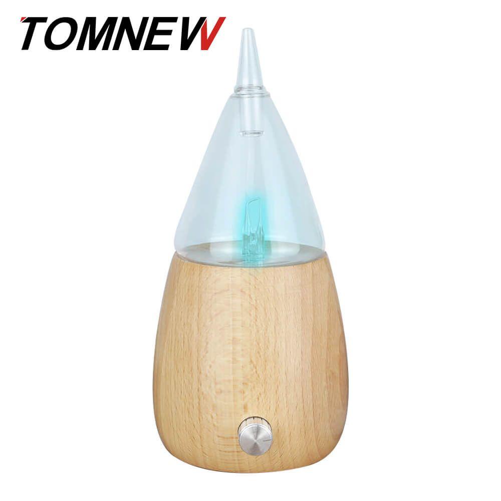 TOMNEW Glas Ätherisches Öl Diffusor Holz Aromatherapie Aroma Nebel-hersteller Fogger Weihrauch Aromatischen Maschine mit 7 Farben LED Licht