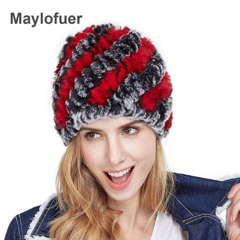 Grand rabais nouveau Style véritable tricoté Rex fourrure de lapin chapeau naturel lapin fourrure casquettes mode femmes bonnets chapeaux diverses couleurs