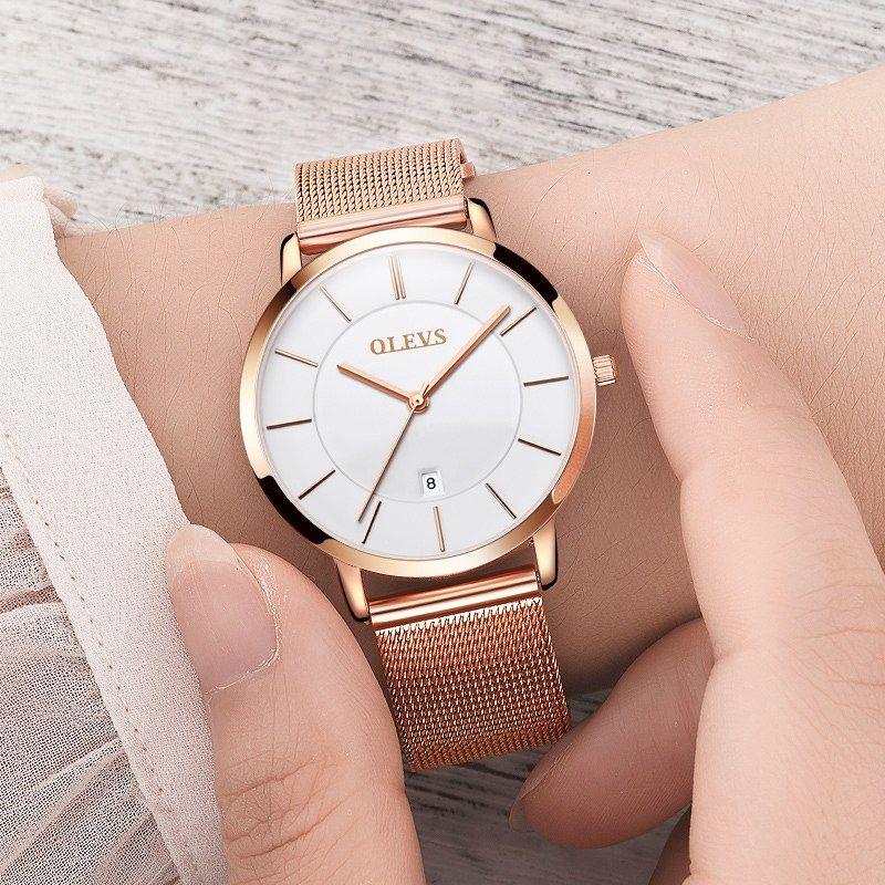 Olevs marca de lujo clásico relojes negocios estilo mujeres reloj de oro rosa cuarzo automático fecha relojes 5869